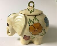Vintage Elephant Cookie Jar, Flowers, Cream, Unbranded, 12x13 inches