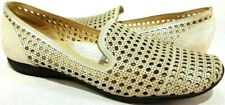 Sesto Meucci Gauri Laser Cut Ivory Leather Flats Women's Size US 8.5 M