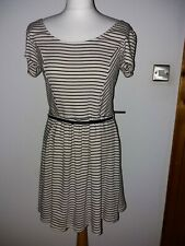 Size UK 12 OASIS cream Striped French Style Dress Belted L