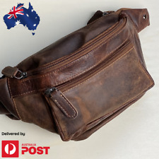 Genuine Leather Bum Bag Travel Pouch MobilePhone Belt Bag Waist Pack Brown