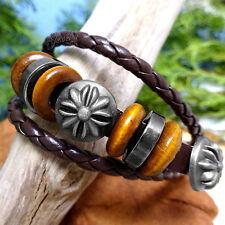 Vintage Stainless Steel Beaded Star Charms Brown Genuine Leather Unisex Bracelet
