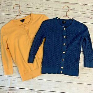 2 Talbots SMALL Petite Cardigan Sweaters Pima Cotton Career Work Office Teacher