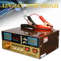 Full Automatic Intelligent Car Battery Charger Pulse Repair 12/24V 400AH EU Plug