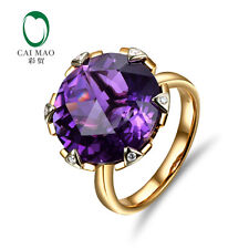 11.68ct Purple Amethyst 14K Yellow Gold Natural Full Cut Diamonds Ring