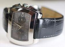 Baume & Mercier Automatic Chronograph Hampton City 65430 XL Watch Black Leather