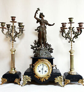 FRENCH  CLOCK SET ART NOUVEAU HEAVY MARBLE STATUE CHERUBS