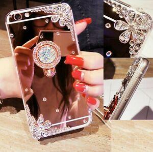 Handy Schutz Glitzer Hülle Ring Diamant Strass Blumen Spiegel Case Silikon Griff