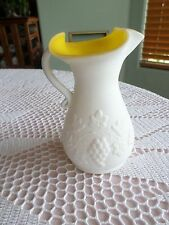 """Vintage Yellow Cased Milk Glass   Pitcher 7"""" Tall Just Special needs a new Home"""