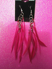Plastic Hot Pink Feather Dangle Earrings