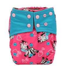 All In One Baby Cloth Diaper Nappy Charcoal Insert Night Doule Gusset Girl Zebra