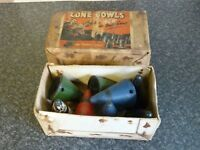 VINTAGE SET OF 8 CONE BOWLS IN ORIGINAL BOX GOOD CONDITION FOR AGE