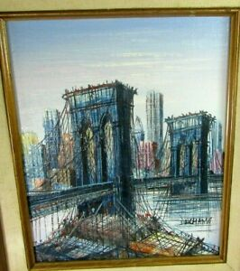 Original Oil Painting On Board Brooklyn Bridge Mid-Century Modern by H Duchamp