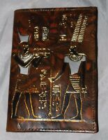 Brown Leather Bifold Wallet Egyptian Hieroglyphics