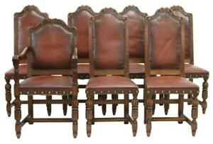 Antique Chairs, Dining, Highback, (7) Seven French Oak & Leather, Early 1900's!!