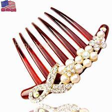 Large Austrian Crystal Pearl Hair Comb clip slide flowergirl bridal PartyWedding