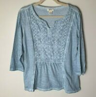 Style & Co. Women's Top Size Medium 100% Cotton 3/4 Sleeves Light Blue Casual