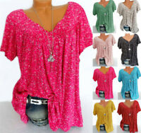 Womens Short Sleeve Long Tops Pullover Ladies V-neck Blouse Basic Tee Loose Tees