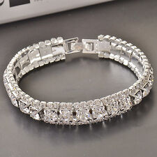 "Beautiful!~9k White Gold Filled~CZ~Bracelet~7.25"" x 11mm~Stunning Dazzle!!!"