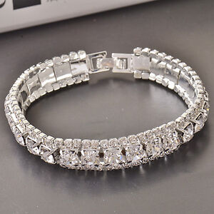 "Beautiful!~9k White Gold Filled~CZ~Bracelet~7.25"" x 11mm~Stunning Dazzle!!!"