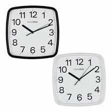 Hometime 24cm Square Plastic Wall Clock Silent Sweep Second Hand Home Office