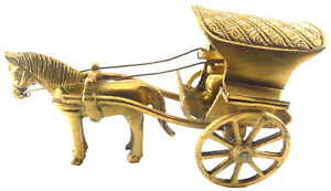 RUNNING WHEELS HORSE & BUGGY CART CARRIAGE STATUE TOY BRASS METAL HOME DECOR