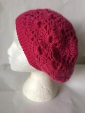 Ladies hand made pink crochet knit beret