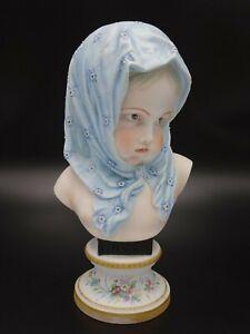 """19TH C. VION & BAURY PARIS BISQUE PORCELAIN """"HIVER"""" CHILD'S BUST"""