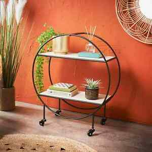 2 Tier Shelving Display Shelves Trolley Unit on Wheels with Black Metal Frame
