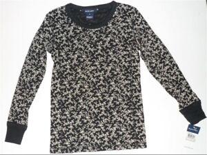 Size 6X, 7 - Genuine Ralph Lauren Girls Black/White Floral Top | Long Sleeves