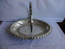 More details for antique silver plated oval swing handled bowl bun feet 1895 j deakin sheffield