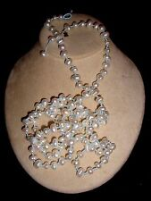 """Tous 18kt Gold Bear Tag  White 8-12 mm Baroque Pearl 50"""" Opera Length Necklace"""
