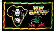 BOB MARLEY FLAG 5' x 3' AFRICA MAP Rastafarian Jamaica Rasta Music