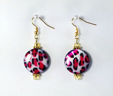 Wild!!! Pink Leopard Animal Print MOP Shell Gemstone Beads Gold Plated Earrings