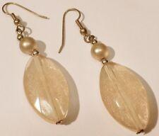 boucles d'oreilles percées couleur or perle ovale résine de qualité orange 102