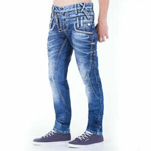 Cipo & Baxx Jeans Herren Hose Regular Fit Dicke Nähte Mens Pants Blau W31/L32