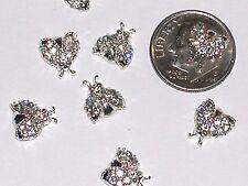 2pc. Miniature dollhouse tiny Silver Flatbacks Crystal Bumble Bee Ladybug 10x9mm