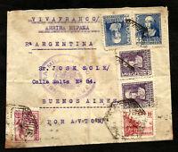 SPAIN to ARGENTINA censored cover Civil War 1939 ESPUGAS de LLOBREGAT cancel VF