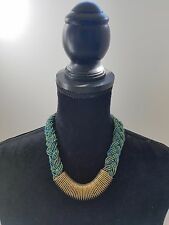 Necklace with Metal Accent Handmade African Maasai Bead