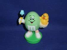 Vintage M&M Pastel Green Peanut Easter Candy Tube Topper Figure 2 3/4in 1994/95