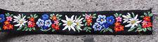 "1 yard FLORAL FLOWERS 2 3/8""W Colorful Black  Ribbon Trim Edging Binding Vintage"
