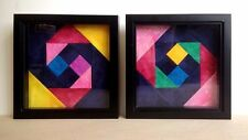 Pair of modern Colorful Batik Patchwork Art Pieces in Black Glass Frames, 9.5''