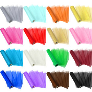 28 Yards Organza Tulle Roll Fabric Chair Bow Sashes Table Runner Wedding Party