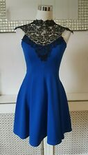 Jane Norman Black lace Neck Royal Blue Skater Dress Size 6 BNWT