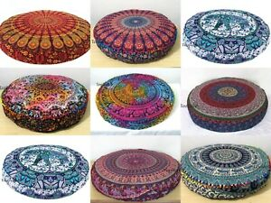 10 Pcs Wholesale Lots Indian Peacock Mandala Floor Cushion Cover Home Decorative