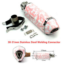 370mm Pink Motorcycle ATV Exhaust Muffler Pipe Maiden Style Pink Stainless Steel