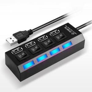 Multi 4 Port USB HUB 2.0 Powered Super FAST Extender Adapter Splitter Laptop PC