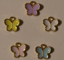 5 x Charms Enamel Gold Plated Butterfly Pendants Crafts Jewellery & Craft Making