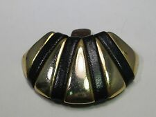 Vintage Gold Tone  and Black Faux Lather Shoe Clip, Curved, Single, 1.5""