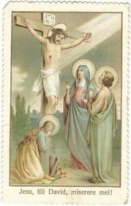 Santino Fustellato Gesù Crocifisso con Orazione Imprimatur 1898 (3477)