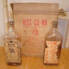 Antique 2 Was-Ca-Na Indian Medicine Bottles Council Bluffs, Iowa w/ Original Box
